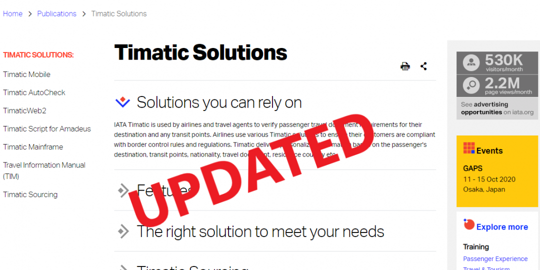 Timatic updated with new advisory