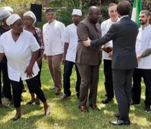 Minister of Tourism and Arts, Ronald Chitotela, and the Italian Ambassador to Zambia, Antonino Maggiore, are pictured with some of the local Zambian chefs undergoing training.