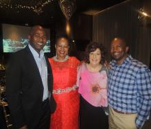 June Crawford (second right) is pictured with Blacky Komani from TBCSA (far left), Acting SAA CEO, Zuks Ramasia (second left) and CEO of South African Tourism, Sisa Ntshona.