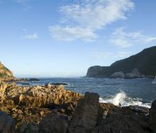 A boat going out to the Knysna heads