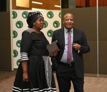 Mmamoloko Kubayi-Ngubane, Minister of Tourism (right) and Jackson Mthembu, Minister in the Presidency of South Africa (left).