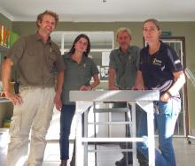 Matthew and his team at Tenikwa, from left: Matthew Morris, Flore Aguettant, Cam Newton and Elzette Lategan.